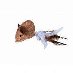 nobby kurkmuis met veren en catnip kattekruid